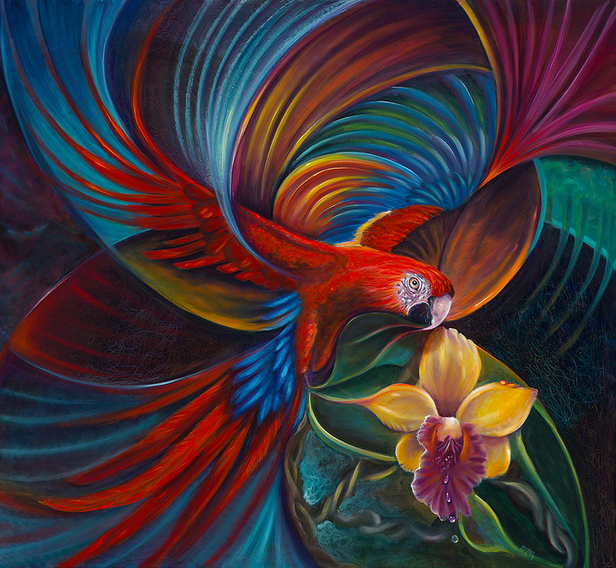 Flying Macaw Painting By Sherry Strong