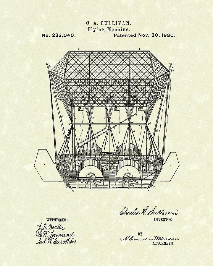 Sullivan Drawing - Flying Machine 1880 Patent Art by Prior Art Design
