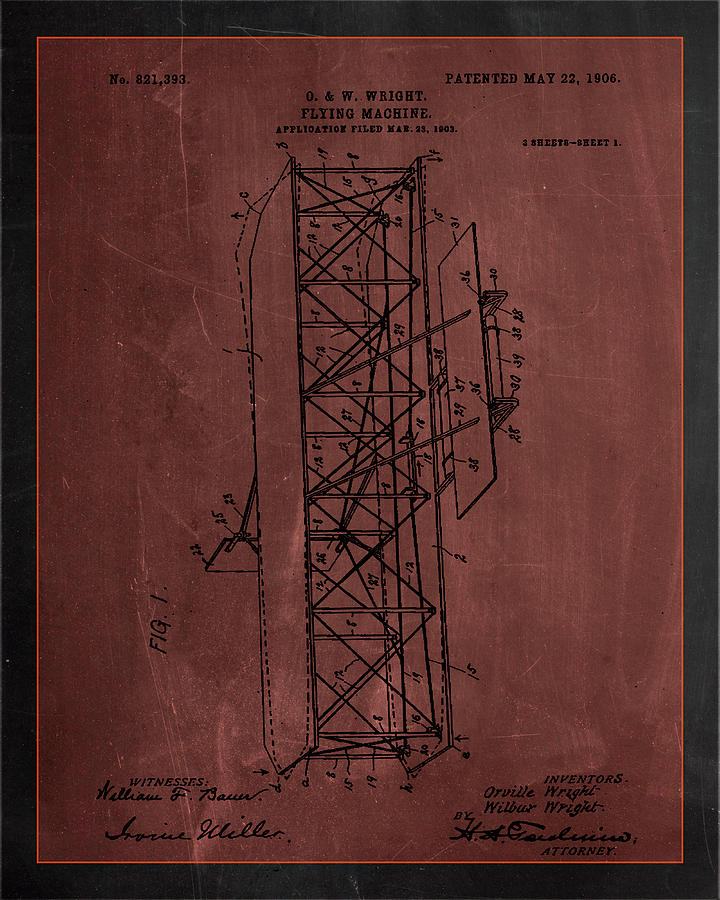 Patent Mixed Media - Flying Machine Patent Drawing  by Brian Reaves