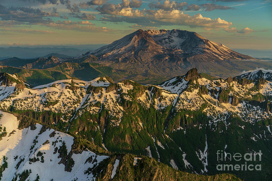 Spring Photograph - Flying Over Snow Dusted Peaks To Mount St Helens by Mike Reid