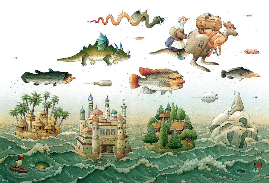 Flying Over The Sea Painting by Kestutis Kasparavicius