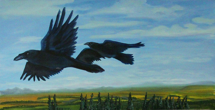 Raven Painting - Flying Over The Tanana Flats by Amy Reisland-Speer