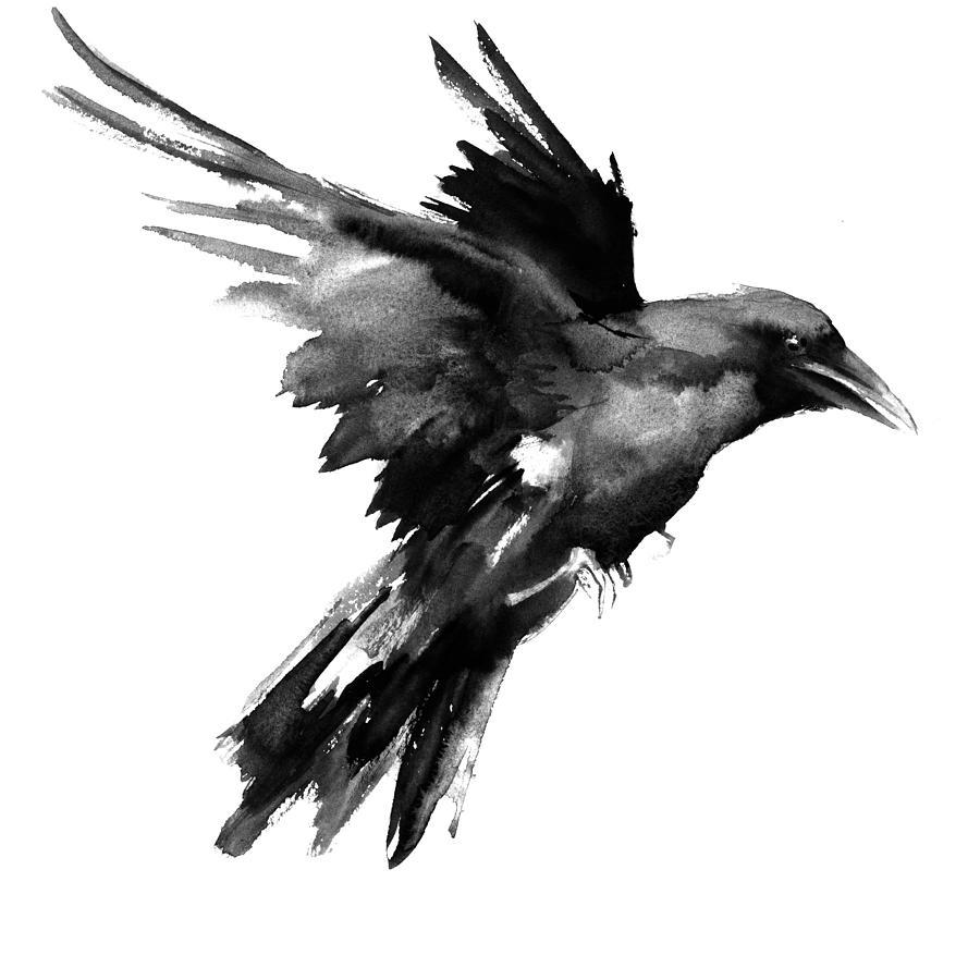 Flying raven painting by suren nersisyan raven painting flying raven by suren nersisyan buycottarizona Gallery