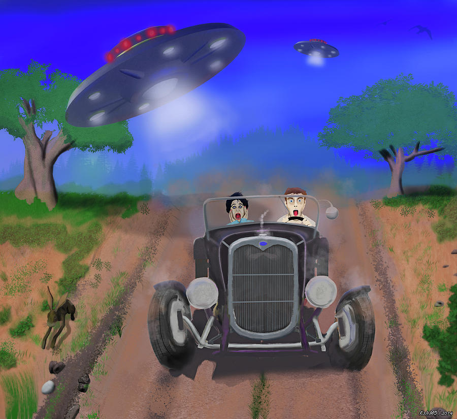 Artrage Painting - Flying Saucers Attack Teenage Hot Rodders by Ken Morris