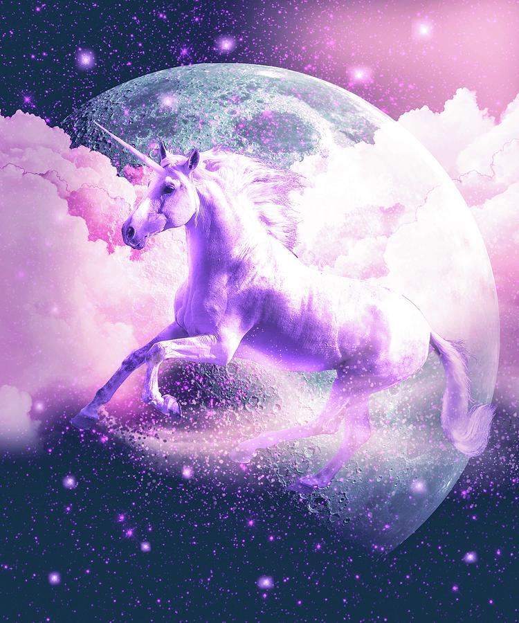 Unicorn Digital Art - Flying Space Galaxy Unicorn by Random Galaxy
