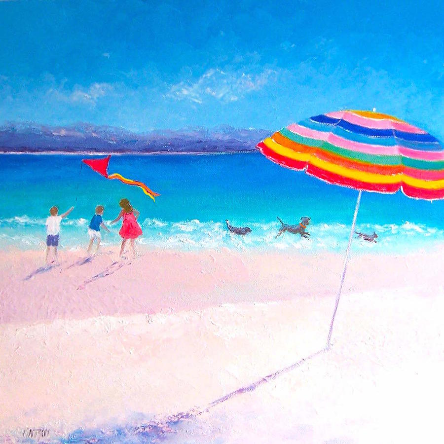 Beach Painting - Flying The Kite by Jan Matson
