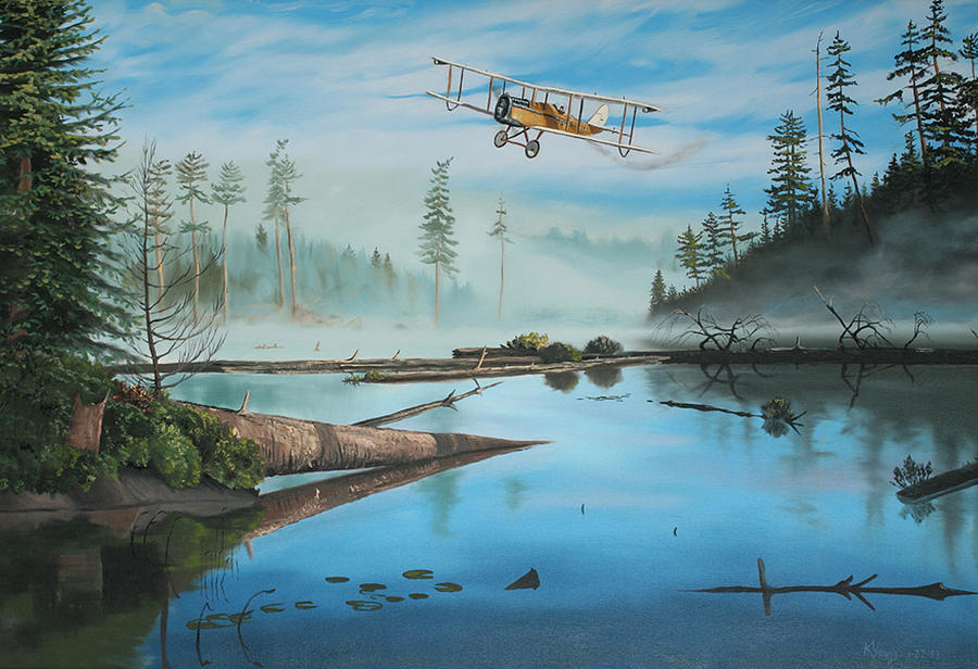 Aircraft Painting - Flying The Mail by Kenneth Young