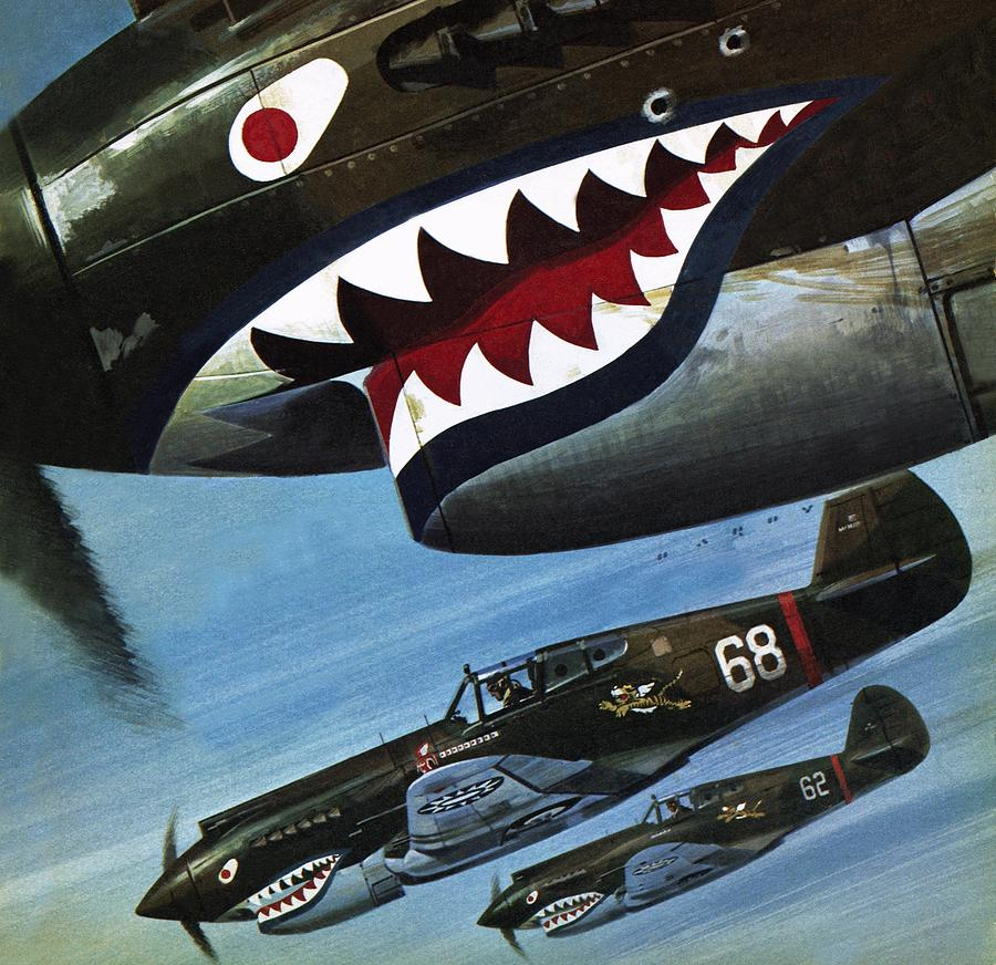 Avg Painting - Flying Tigers Over Asia by Wilf Hardy