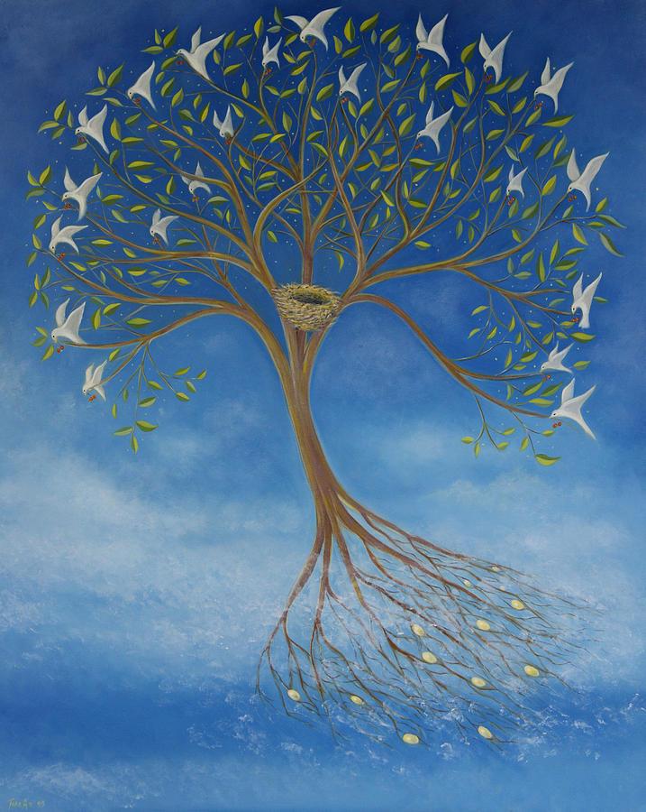 Tree Painting - Flying Tree by Tone Aanderaa