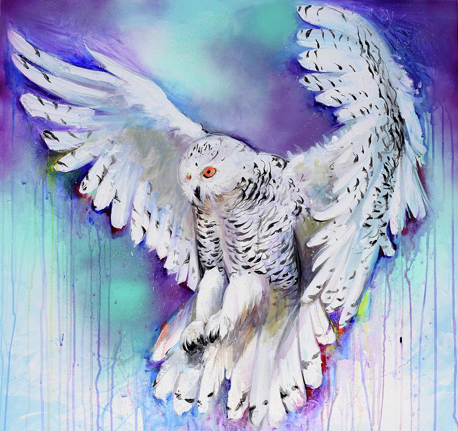 Flying White Owl Painting