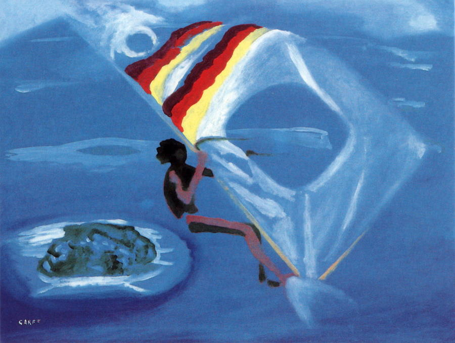 Windsurfer Painting - Flying Windsurfer by Enrico Garff