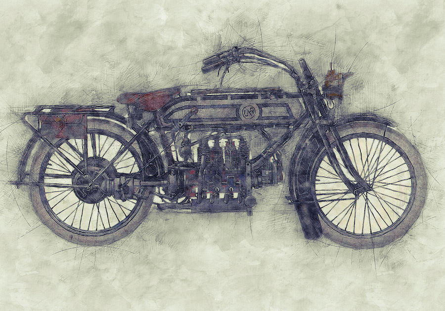 Fn Four 1 - Fabrique Nationale - 1905 - Motorcycle Poster - Automotive Art Mixed Media