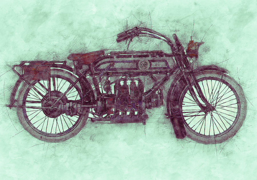 Fn Four 3 - Fabrique Nationale - 1905 - Motorcycle Poster - Automotive Art Mixed Media
