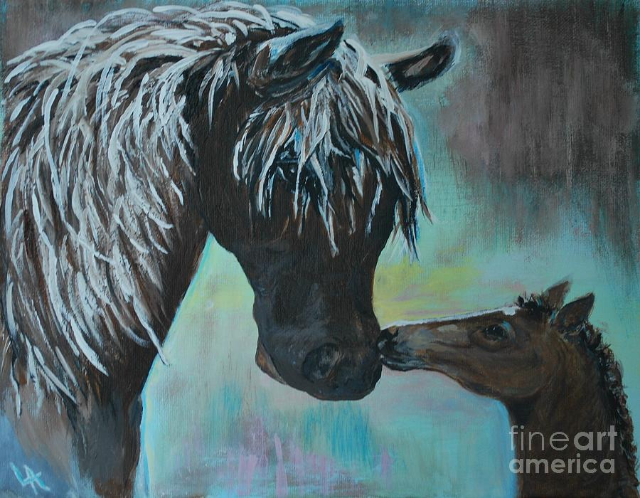 Mother And Baby Painting - Foal Kiss by Leslie Allen