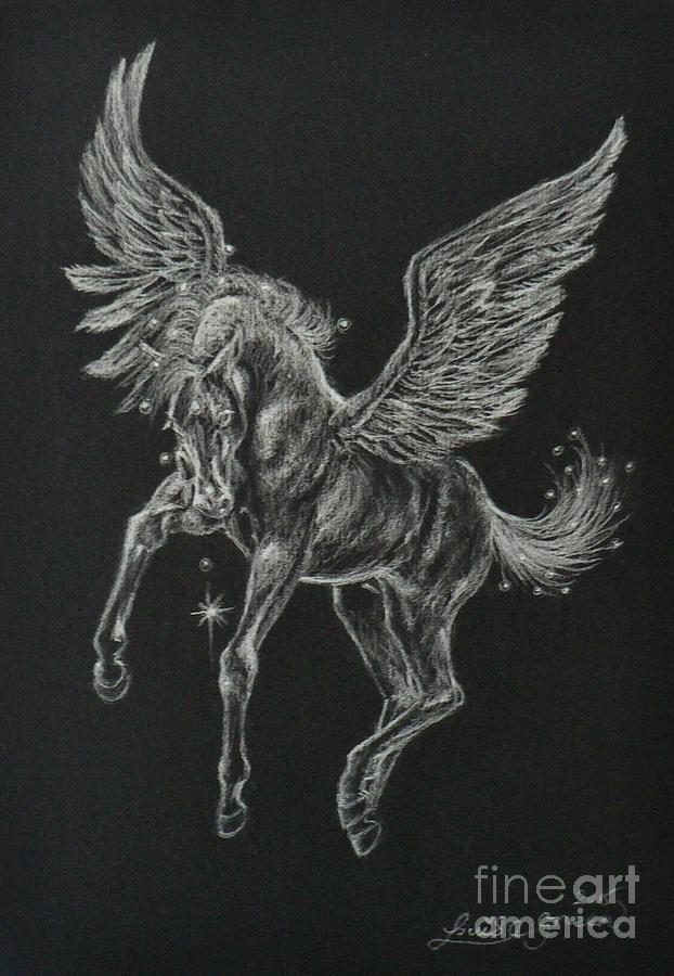 Pegasus Drawing - Foal Of The Falling Star by Louise Green