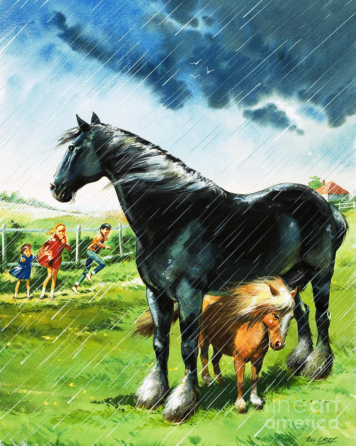 Horses Painting - Foal Sheltering From Bad Weather Under Another Horse by 289344