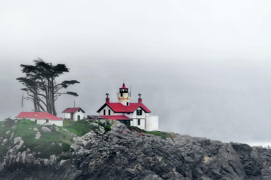 Battery Point Lighthouse Photograph - Fog Comes Rolling In - Battery Point Lighthouse - Crescent City Ca by Christine Till