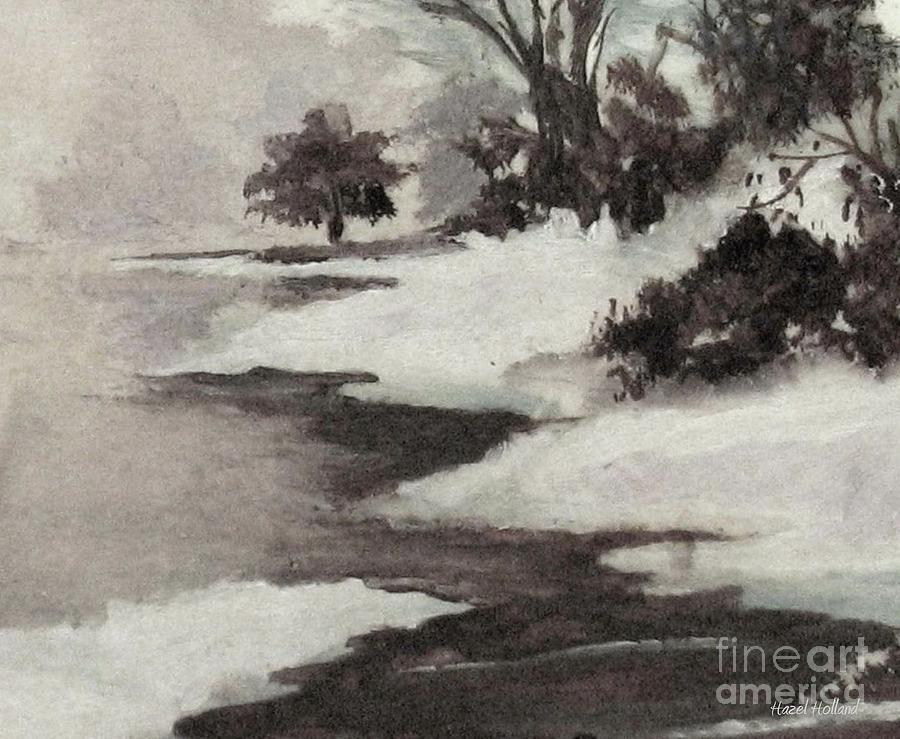Winter Scene Painting - Early Morning Fog by Hazel Holland