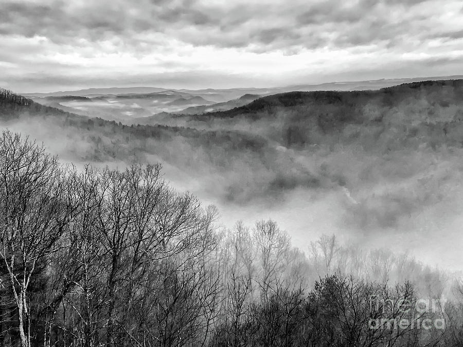 Fog Photograph - Fog In The Mountains - Pipestem State Park by Kerri Farley