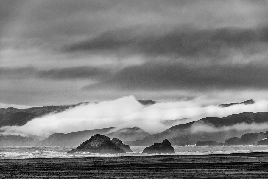 Fog Photograph - Beach Walking In The Fog by Gej Jones