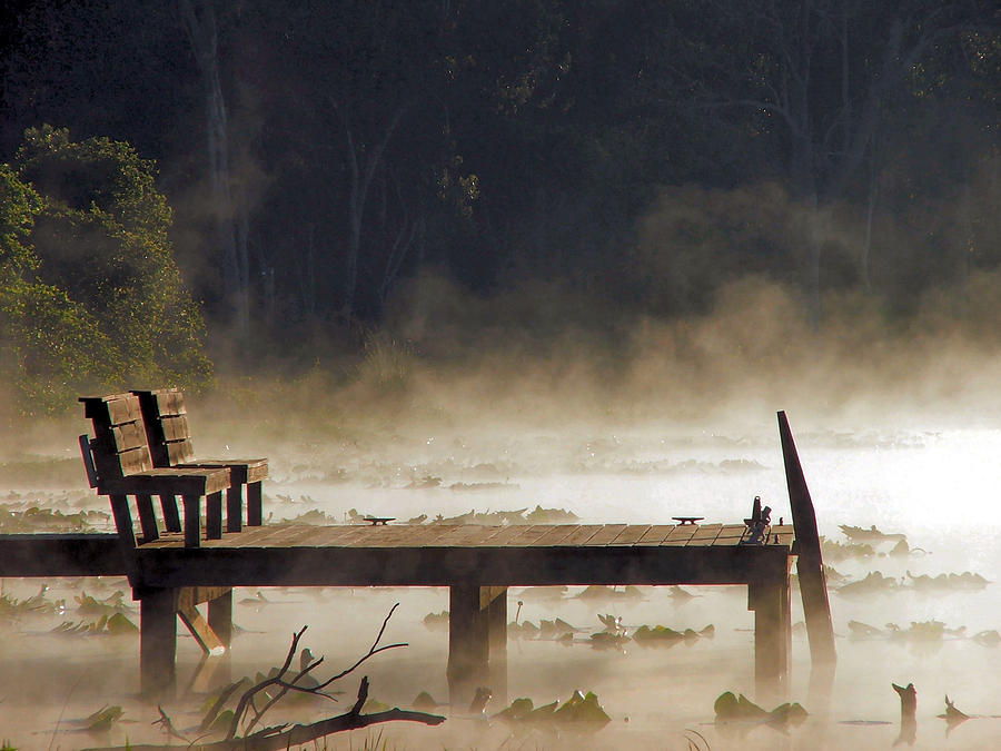 Water Photograph - Fog on Lake Jeffords by Judy  Waller