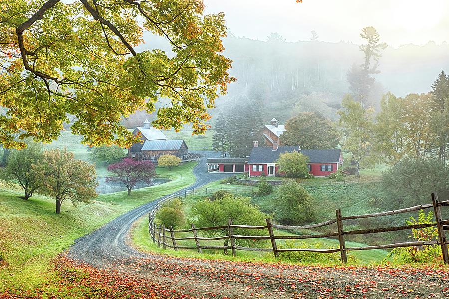 Autumn Photograph - Fog On Sleepy Hollow Farm by Jeff Folger