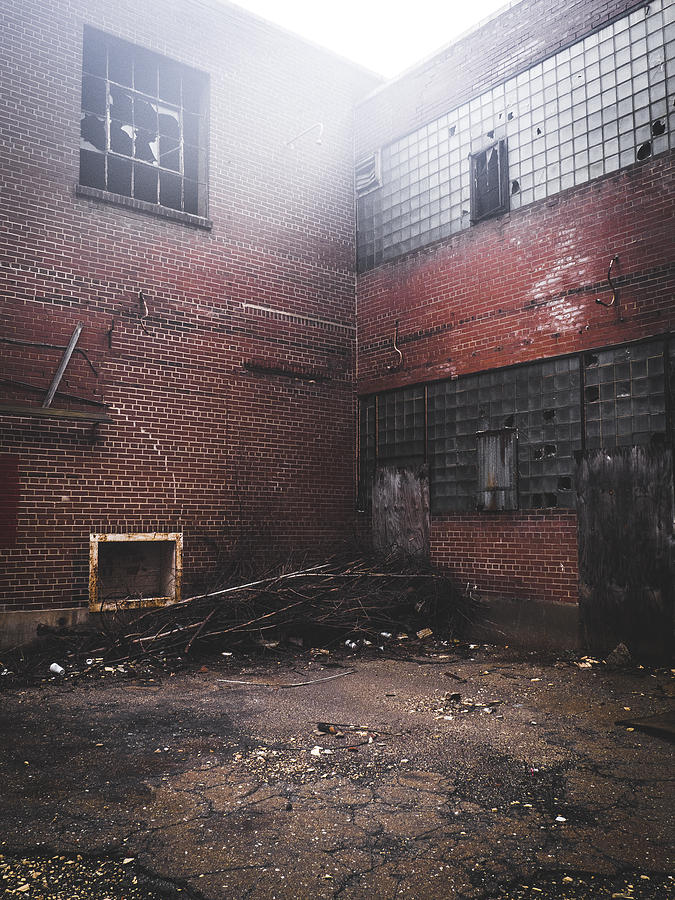 Red Photograph - Fog Outside Abandoned Building by Dylan Murphy