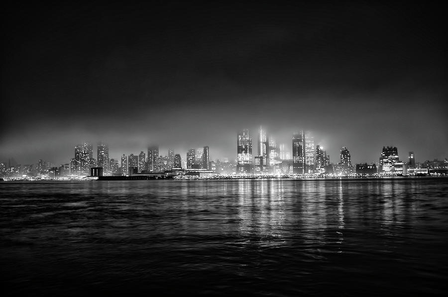 Fog Photograph - Fog Shrouded Midtown Manhattan In Black And White by Bill Cannon