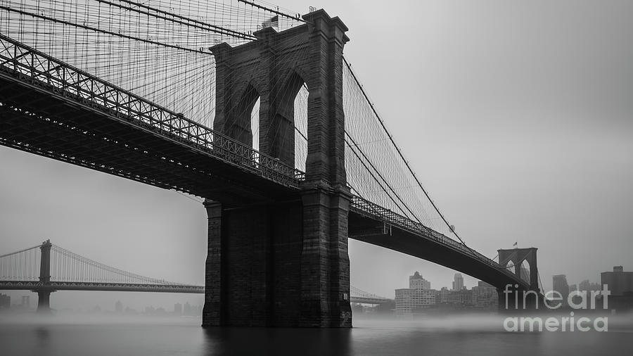 Foggy Brooklyn Bridge by Sally Morales