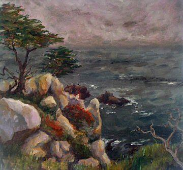 Seascape Painting - Foggy Carmel by Brenda Williams