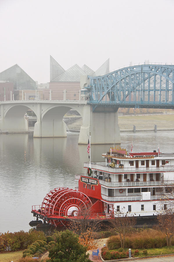 Market Street Bridge Photograph - Foggy Chattanooga by Tom and Pat Cory