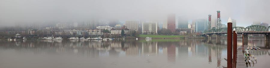 Portland Photograph - Foggy Day along Portland Waterfront Panorama by David Gn