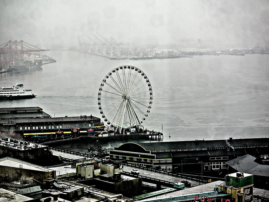 Foggy Day At The Waterfront In Seattle Photograph