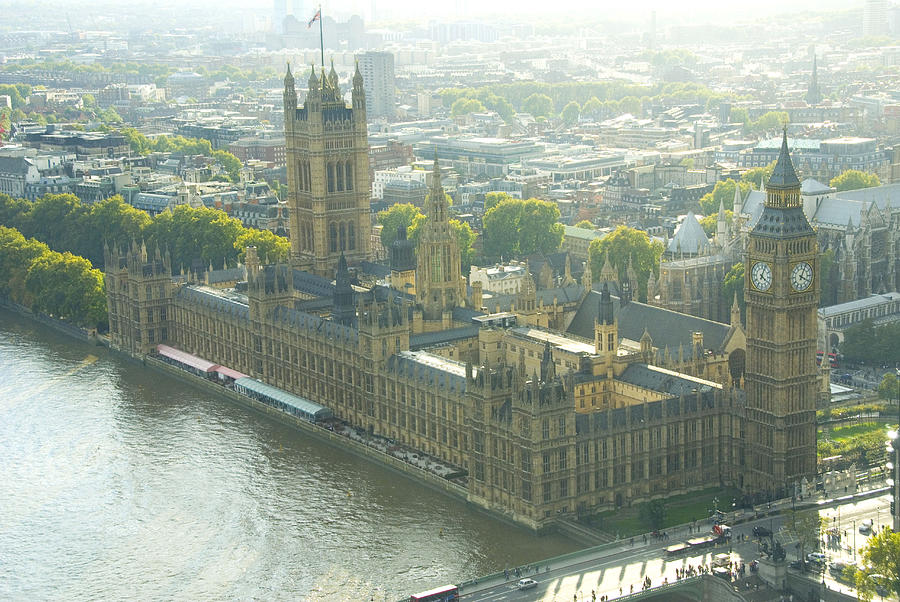 Parliament Photograph - Foggy Day In London Town by Charles  Ridgway