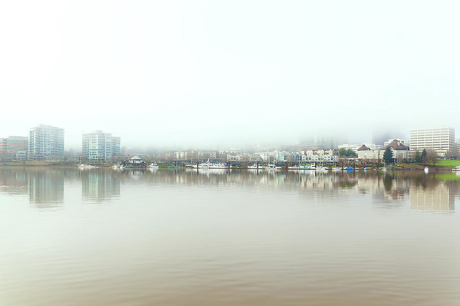 Portland Photograph - Foggy Day on Portland Downtown Waterfront by David Gn