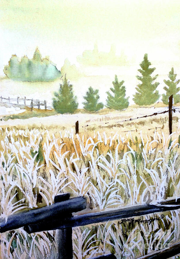 Landscape Painting - Foggy Field by Tracy Rose Moyers