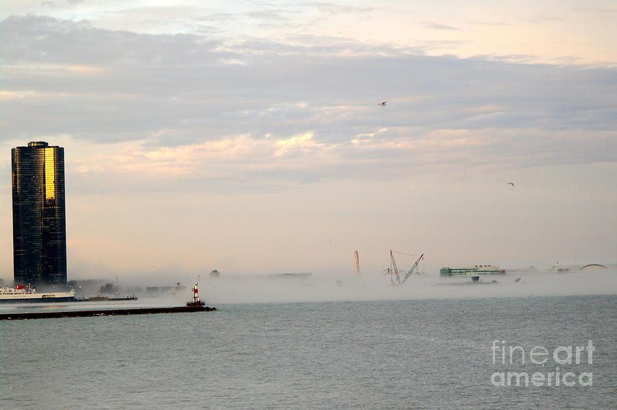 Chicago Illinois Photograph - Foggy Lake Point by David Bearden