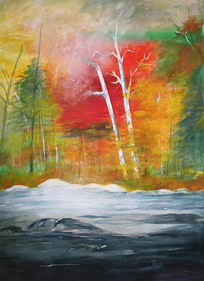 Trees Painting - Foggy Morning 2 by Julie Lueders