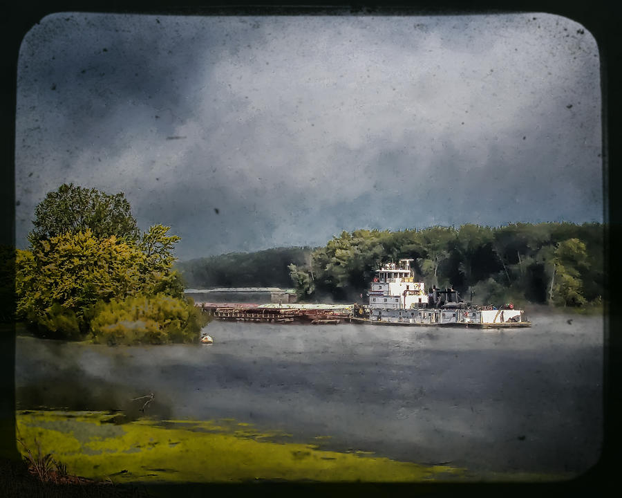 Landscape Photograph - Foggy Morning At The Barge Harbor by Al  Mueller