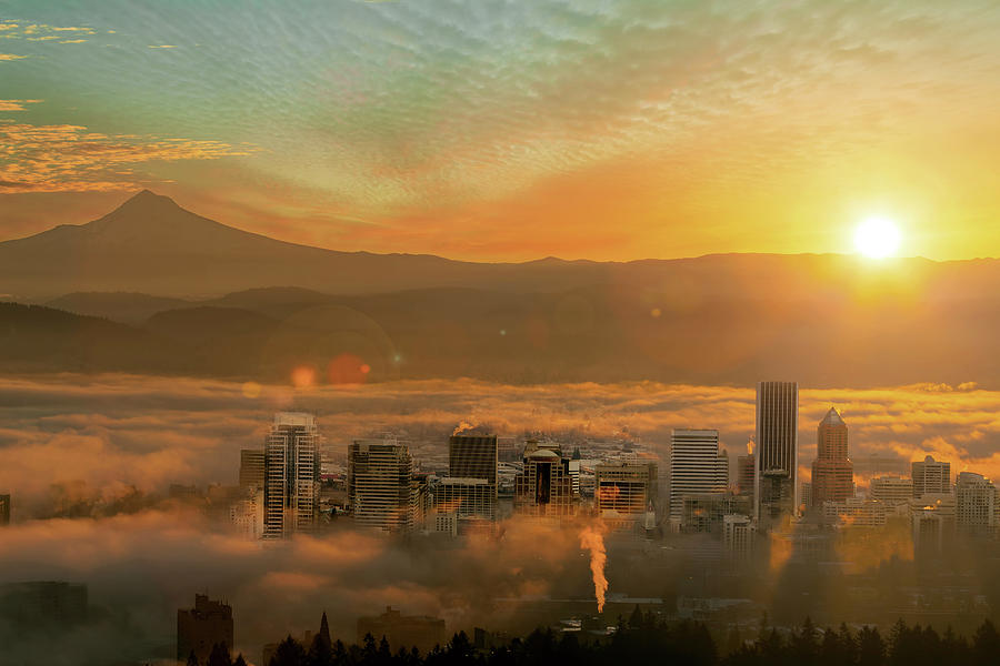 Portland Photograph - Foggy Morning Over Portland Cityscape During Sunrise by David Gn