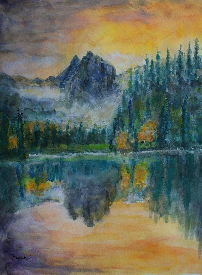 Painting Painting - Foggy Mountain Lake by David Frankel