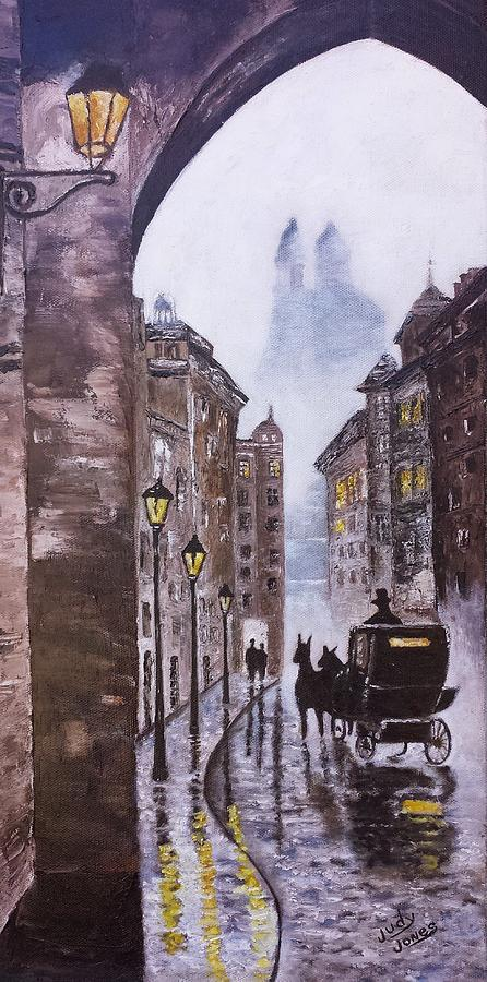 Foggy Night In The City Painting