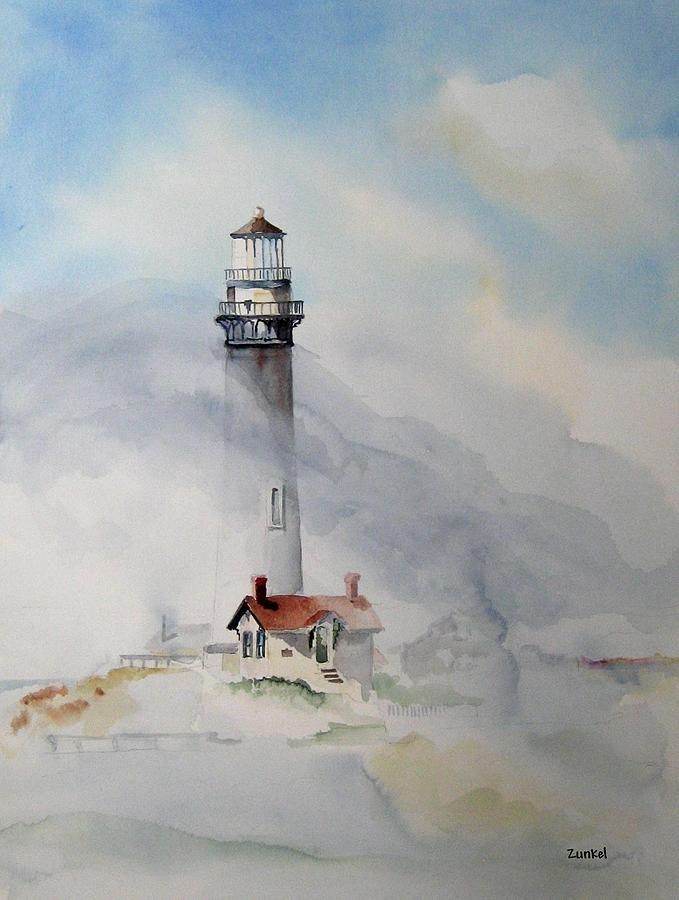 Lighthouse Painting - Foggy Point by Richard Zunkel