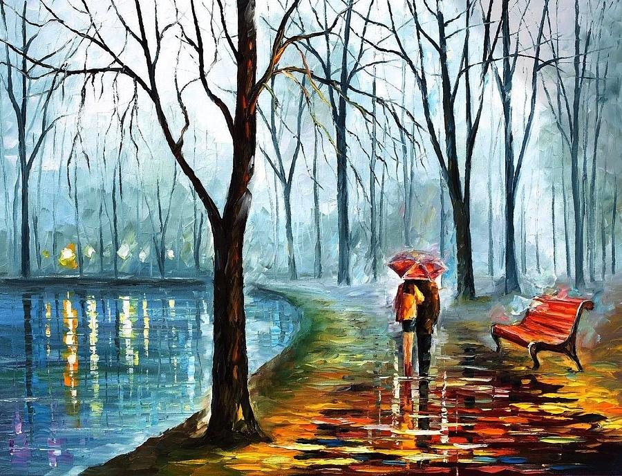 Art Gallery Painting - Foggy Rain - Palette Knife Oil Painting On Canvas By Leonid  Afremov