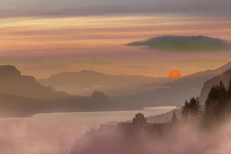 Columbia Photograph - Foggy Red Sun Sunrise at Columbia River Gorge by David Gn