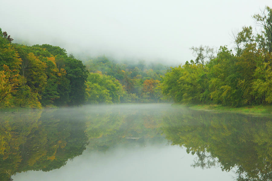 Autumn Photograph - Foggy Reflections by Karol Livote