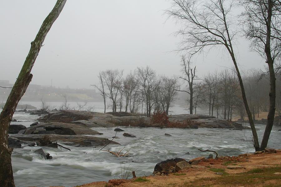 River Landscape Photograph - Foggy River by James Eugene  Moore