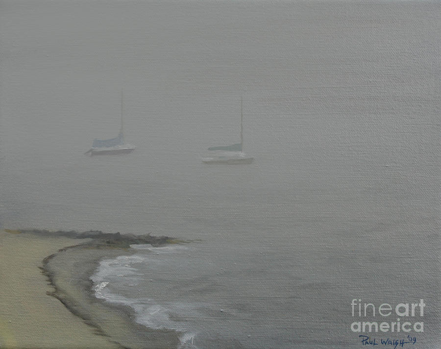Beach Painting - Foggy Shore by Paul Walsh