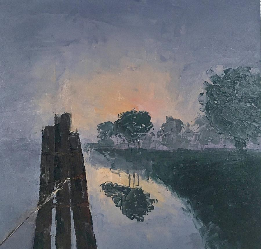 Rosie Painting - Foggy Sunrise At The Locks by Rosie Phillips