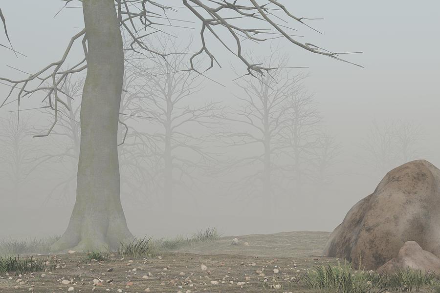 Road Digital Art - Foggy Trail by Mindscape Arts